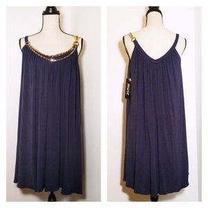NWT Muse Navy Swing Dress w/Chain Detail